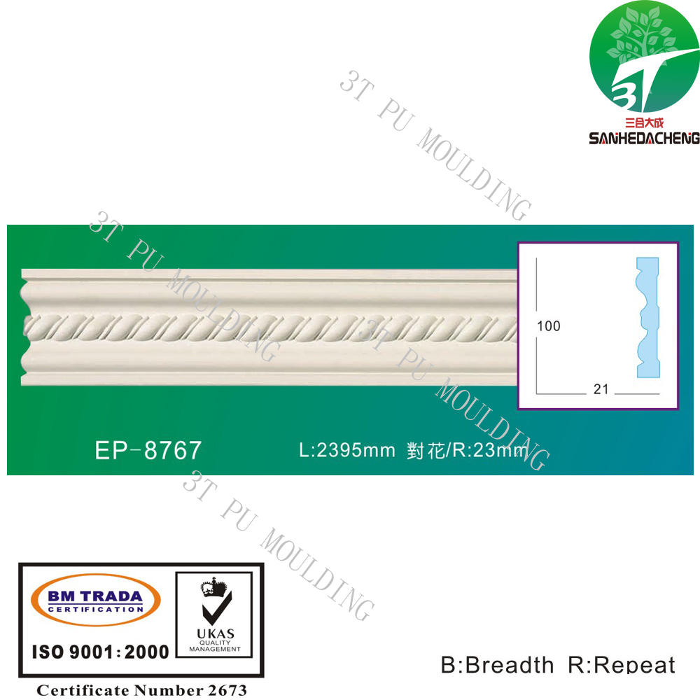 EP-8767 decorative 3T PU polyurethane frame moulding wall switch concrete window moulding designs