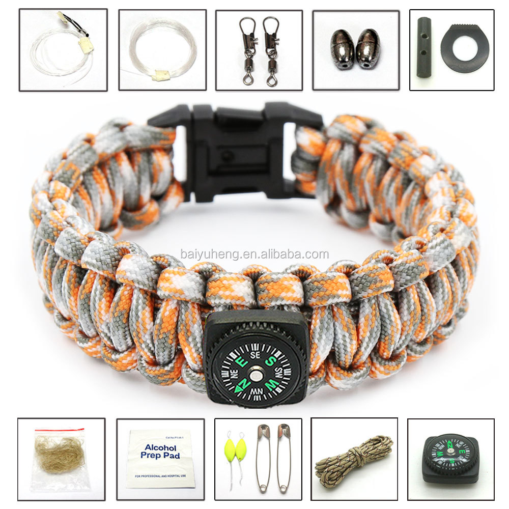 private label small survival kit bracelet emergency preparedness