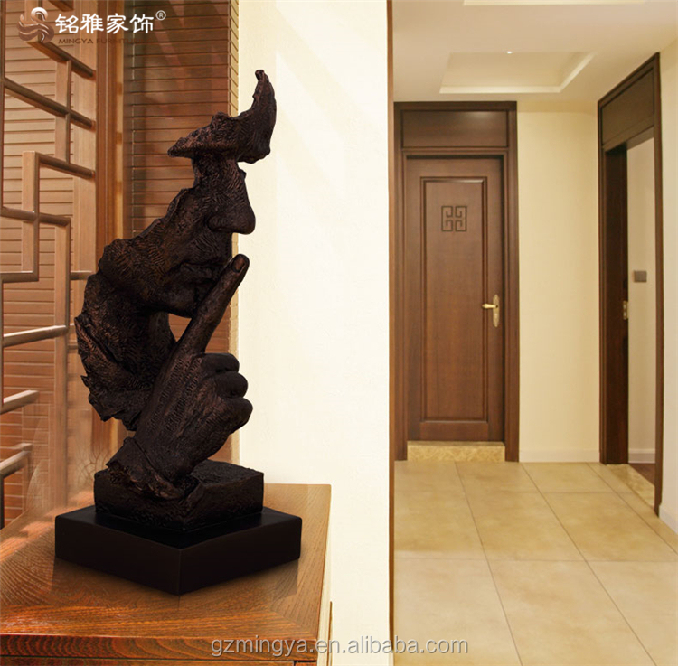 office wall handing bronze colored polyresin art crafts sculptures for hotel showroom decoration