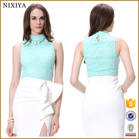 Stand Collar Tank Sleeve Wave Strips with Lace Tops and Blouses 2015