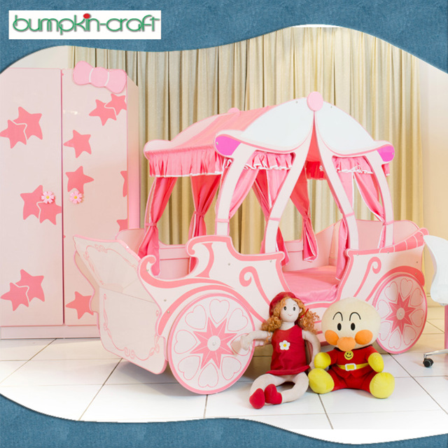 Popular And Hot Sales Princess and girls Pink bed for kids car