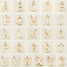 DIY alphabet charm letter pendant necklace gold metal charm necklace women best gifts jewelry
