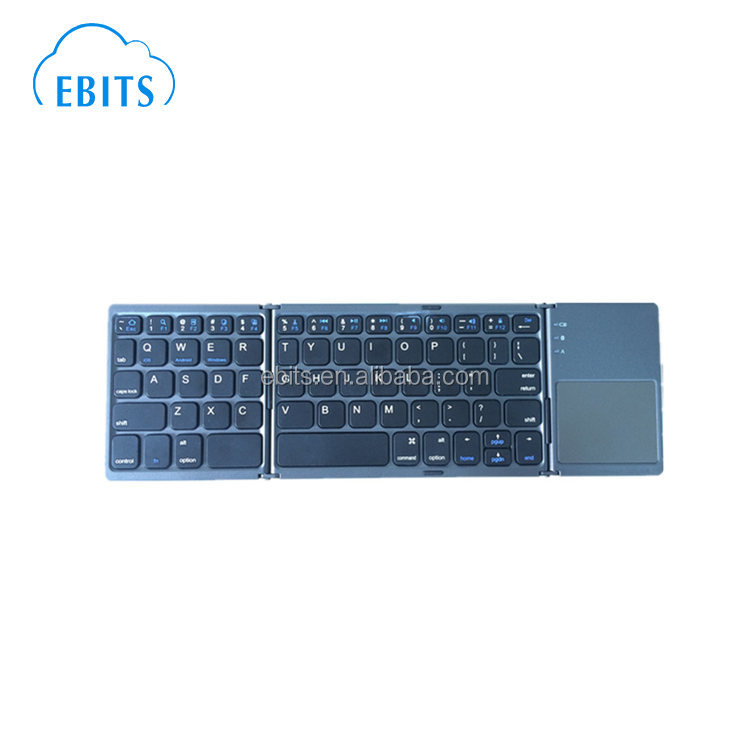 Ultra compact portable wireless bluetooth tri-folding bluetooth keyboard with touchpad
