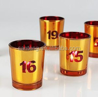 Number electroplate glass candle holder