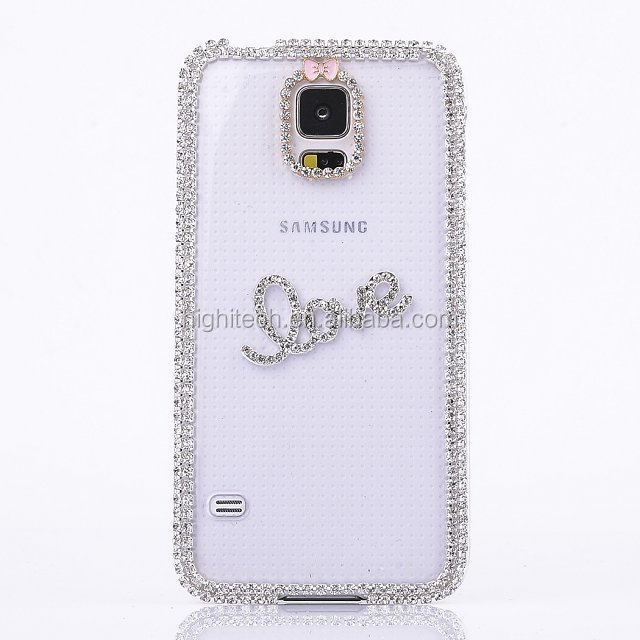 3D Pearl Crystal Diamond Rhinestone Clear Hard Phone Case Back Shell Cover for Samsung Galaxy Note2 n7100 /Note3 n9000