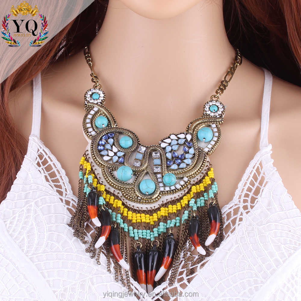 NYQ-00817 boho accessories horn design colorful acrylic beads necklace tassel gold plated chian turkish bule turquoise necklace