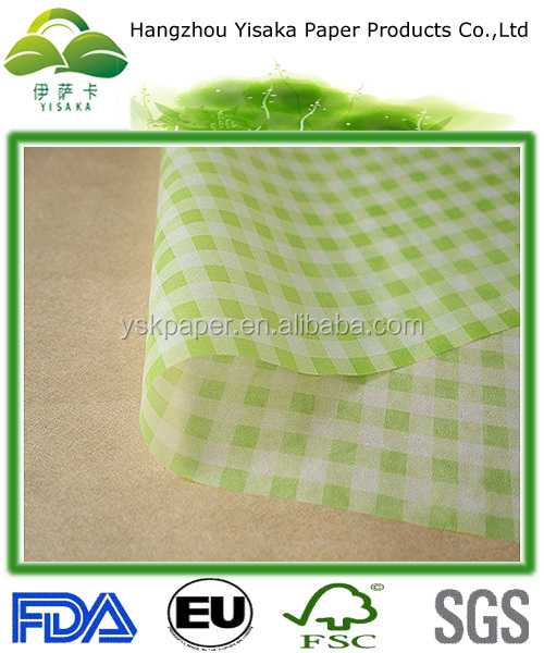 beautiful printed wax paper check green, holiday wax paper