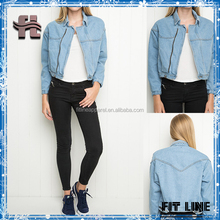 Womens New Autumn 100%Cotton Light Wash Denim Cropped Jacket With a Zipper Closure In Front, Buttoned Cuffs Faux Front Pockets