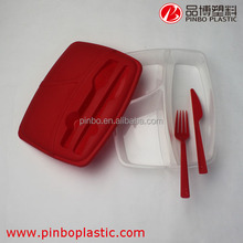 Rectangle Custom 3 Compartments Plastic Bento Box with Knife and Fork
