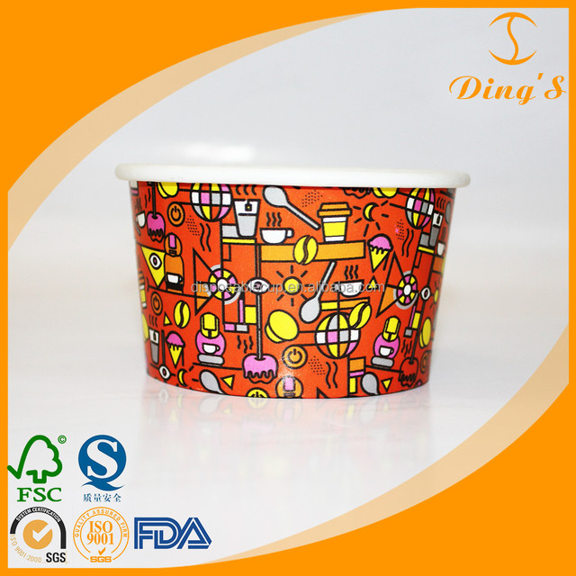 Cheap 6oz Biodegradable Ice Cream Paper Bowls With Company Logo