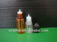 5ml/10ml PET clear/brown e-cigarette/ e juice liquid plastic dropper bottle with thin tip and childproof cap JB-144