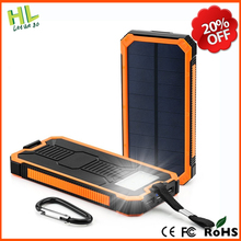 Customize free logo 10000mah mobile charger solar power bank with LED Flashlight and hook