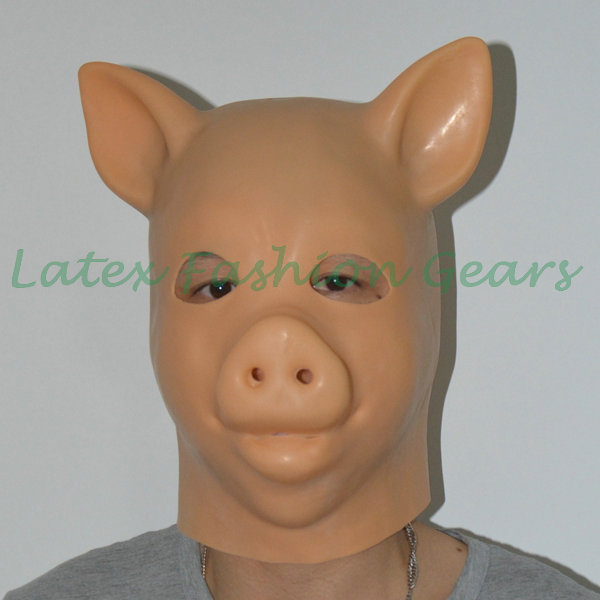 Fetish Latex Animal Mask Hoods Transvestite Rubber Pig Hood BDSM Mask Unique