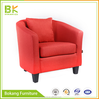 Striped Fabric Single Sofa Chair For Salon Living Room Office Reception