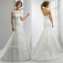 Beautiful Organza Lace Appliqued Off The Shoulder Lace Ivory Wedding Dresses 2012