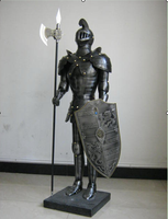 New design home decoration medieval armor warrior with shield and sword bronze soldier