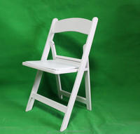 white padded cushion resin PP Folding Chair