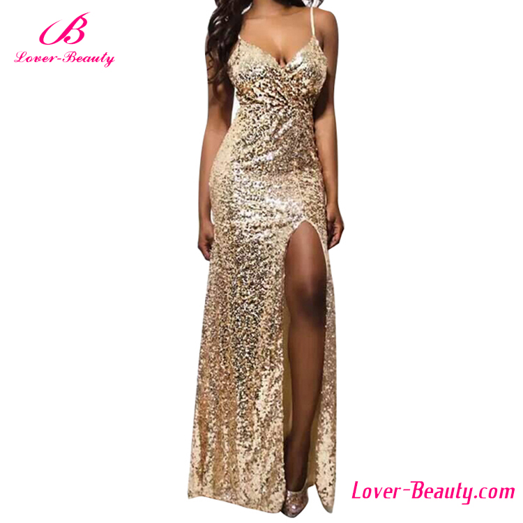 Maxi bling gold long evening formal dress for wine party