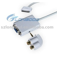 Dock Connector to Audio output & VGA Adapter for iPad,iphone 4G