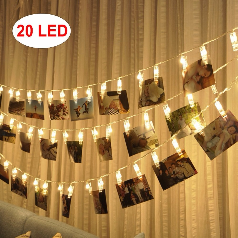 20 Led Photo Clips String Lights ( Warm White) for Hanging Photos Paintings Pictures Card and Memos Wedding Party