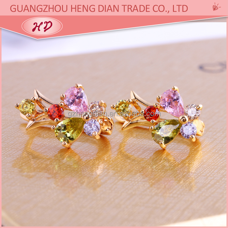 Wholesale fancy Luxury new fashion design Bridal Wedding Jewelry 18k gold plated zircon brass earrings for girls
