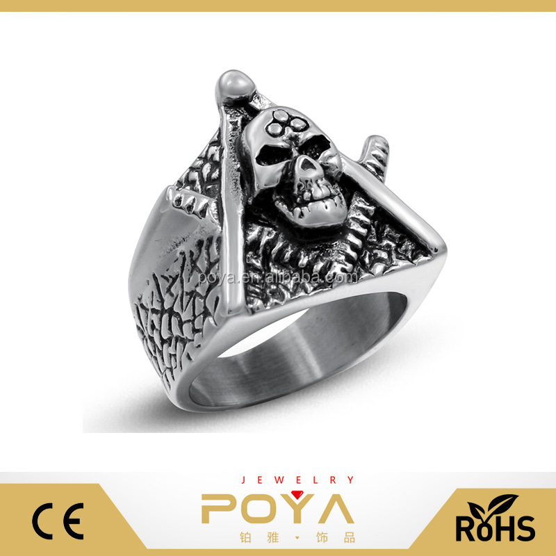 POYA Jewelry Men's Retro Punk Stainless Steel Masonic Skull Rings