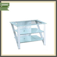 Hot selling free standing glass layer board shelves