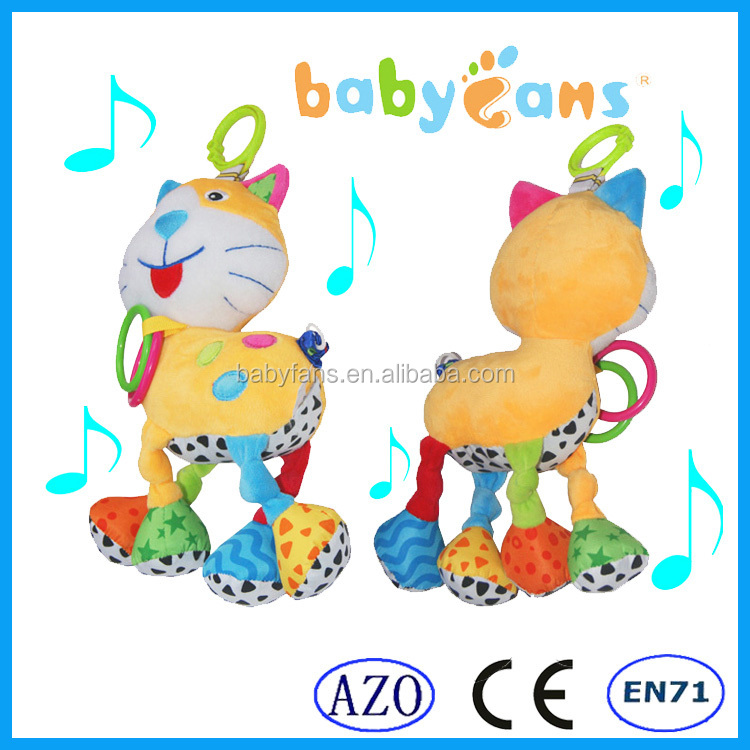Babyfans wholesale cat soft fashion cute pull string musical plush baby toys