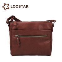 Leather Shoulder Bag Cross Body Briefcase with One Strap for Women