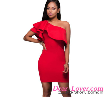 Female Dress 2017 Hot Cheap Red Asymmetric Ruffled Neckline Bodycon Mini Dress