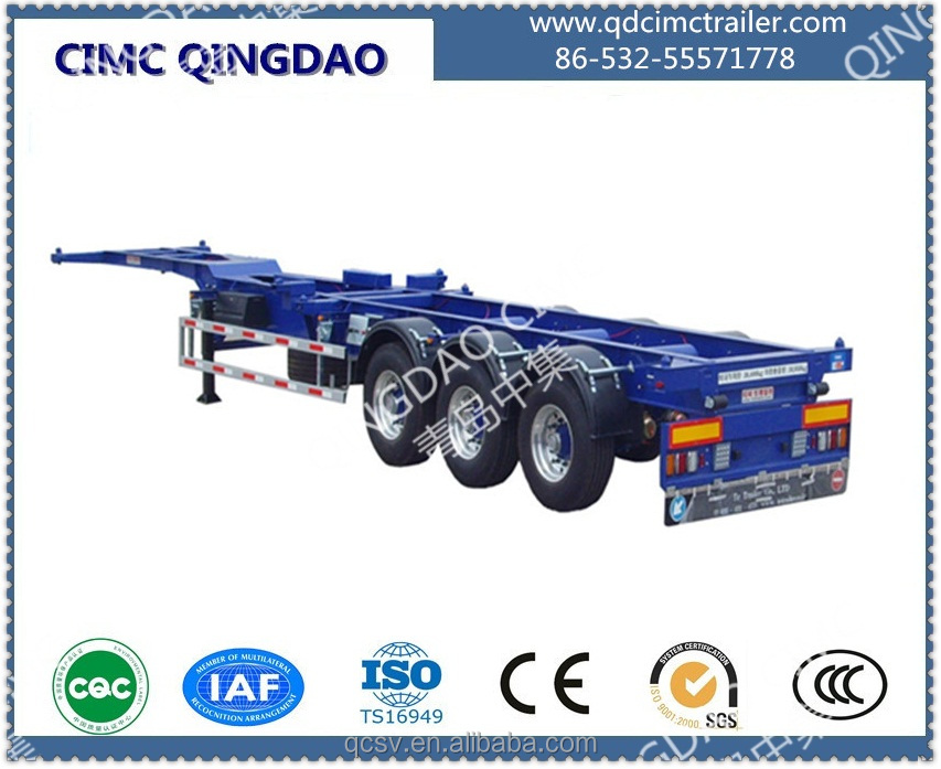 CIMC brand 2 3 axle 40ft skeleton semi trailer truck