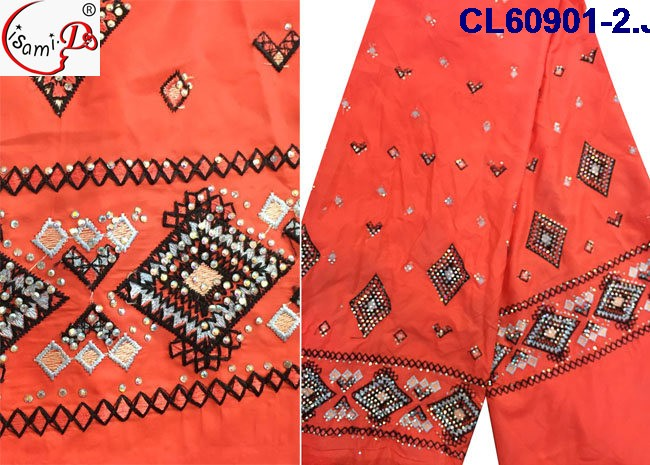 Top quality red color wedding dress Indian silk george fabric with stone design garment in stock