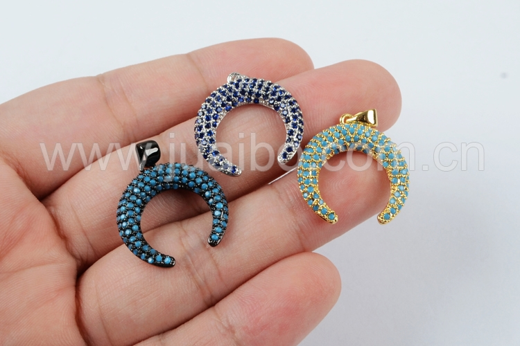 WX587 Newest micro pave CZ Crescent moon charm pendant Best quality cheap Micro CZ pendant