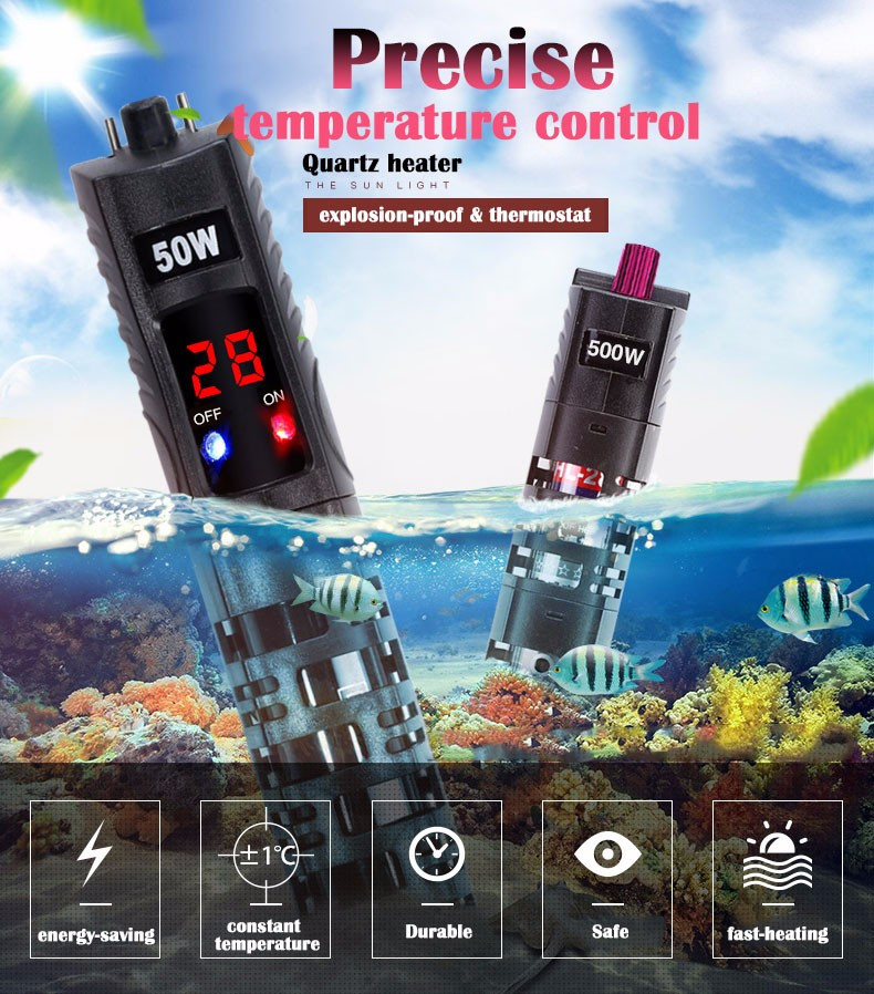 factory price 50W 100W 300W digital 12v aquarium heater mini glass fish aquarium accessories heaters with temperature controller