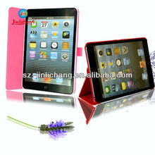 Foldable standing leather case with touch pen slot for apple ipad mini