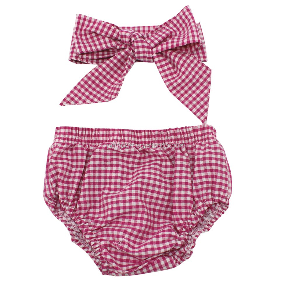 Latest Kids Red Gingham Panties Girls Boutique Bloomer Set