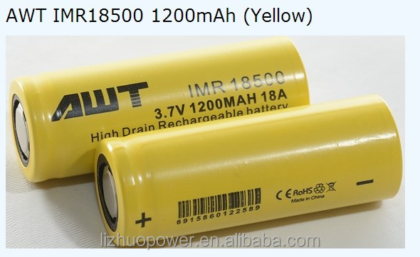 AWT 18500 1200mah high drain battery IMR 18650 li-ion 1200mah rechargable battery 3.7v li ion repair rechargeable batteries