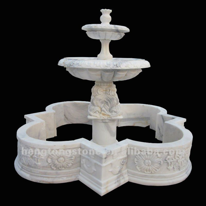 2 Tiers Marble Garden Water Fountain with Pool
