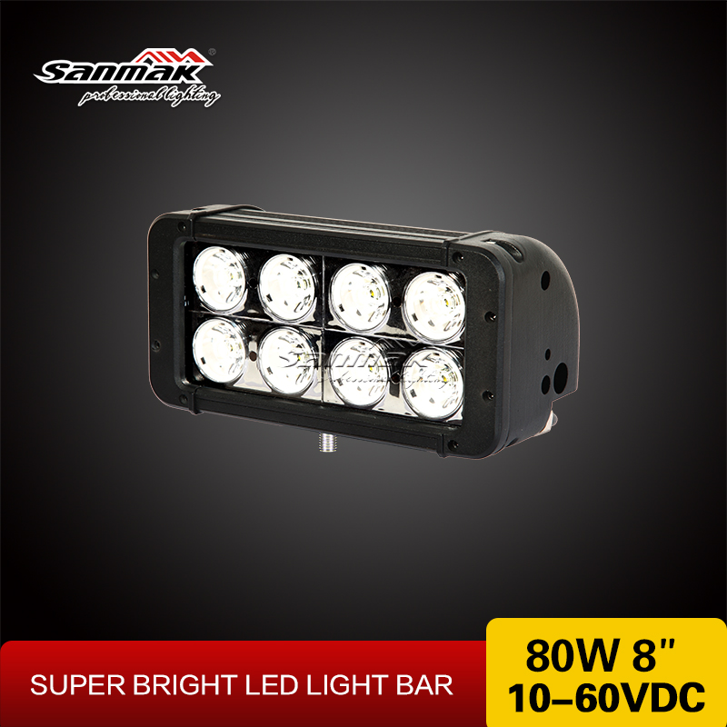 Super bright double row waterproof IP67 8 inch 10w cree led 4x4 track light bar