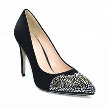 Diamante High Heel Pointy Toe Velvet Pump Woman Shoes