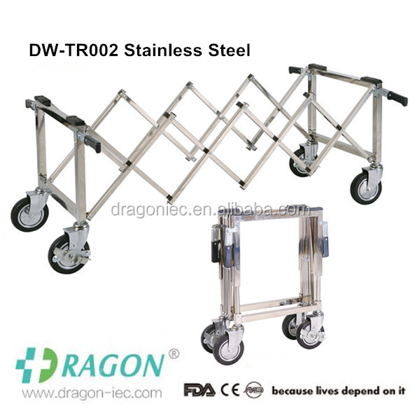 Stainless steel funeral house used cadaver transport casket cart