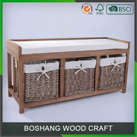 Modern Home Storage Wooden Indoor Decoration Bench For Living Room & Bedroom