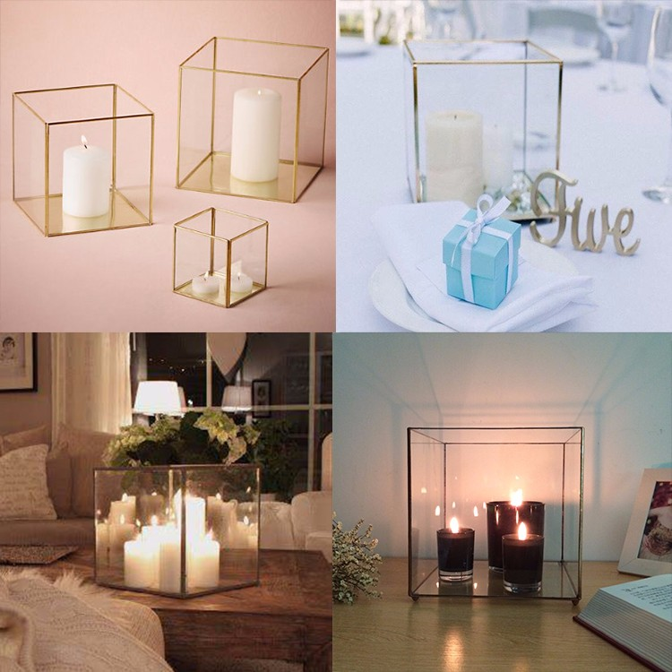 Clear stand Glass geometric terrarium / Candle Holder / bulk cheap table Decor Tall Gold crystal wedding centerpieces candelabra