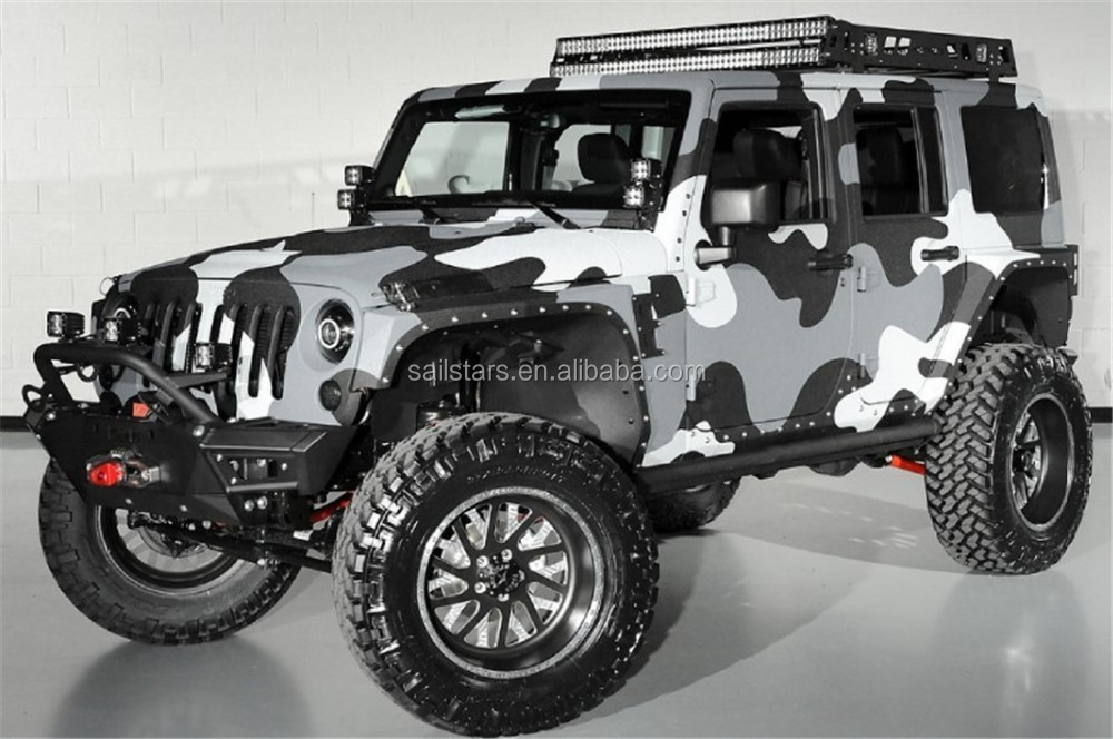 Black White Grey Jumbo Camo Vinyl Car Wrap Bubble Free