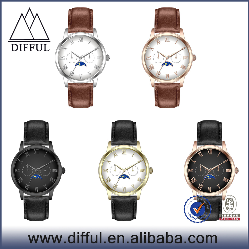 China factory OEM luxury moon phase quartz watch for man