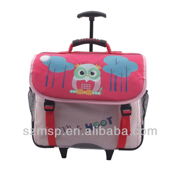 cute owl ployester popular quality fixed trolley school backpack,back to school girls bag