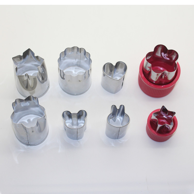Vegetable Cutter Mold - Set of 8pcs Stainless Steel Mini Cookie Cutters Flower Shape Slicer Cake Fruit Cut Tool