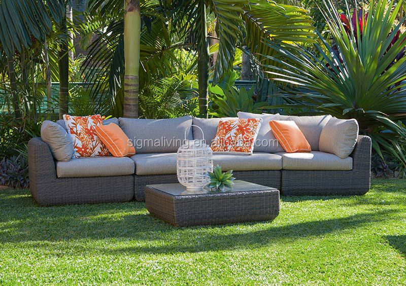 New design all weather garden furniture casual rattan sectional 4 seater sofa