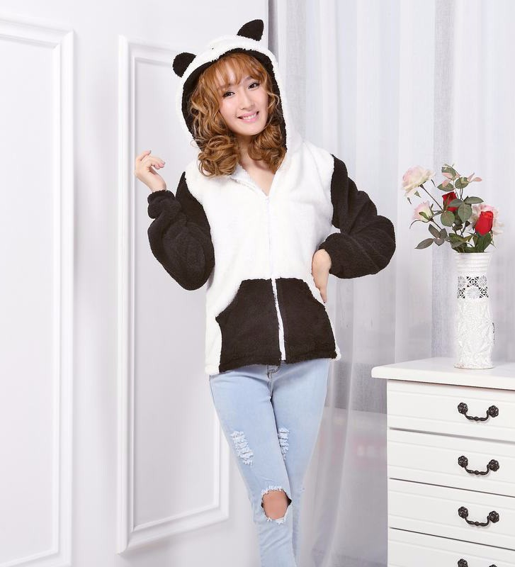 wholesale winter fleece animal hoodies with ears adult panda hoodie