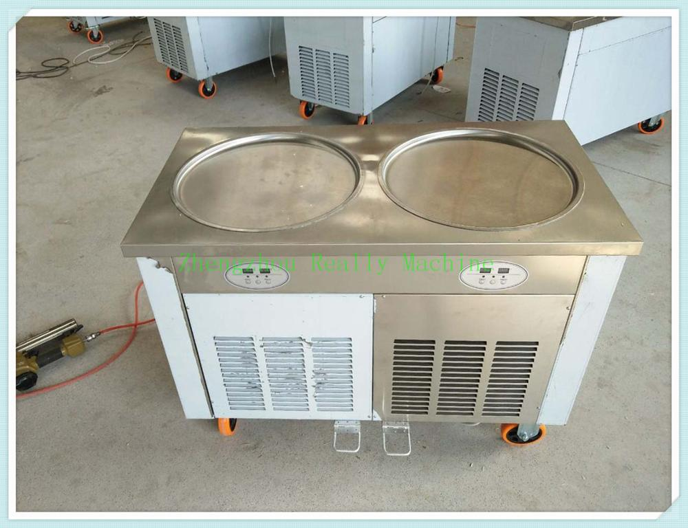 Fast freeze compressor110V/220V double round pans thailand rolled fry ice cream machine with temperature control ice cream maker